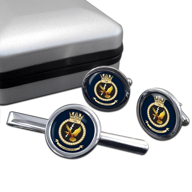 736 Naval Air Squadron (Royal Navy) Round Cufflink and Tie Clip Set