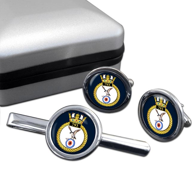 793 Naval Air Squadron (Royal Navy) Round Cufflink and Tie Clip Set