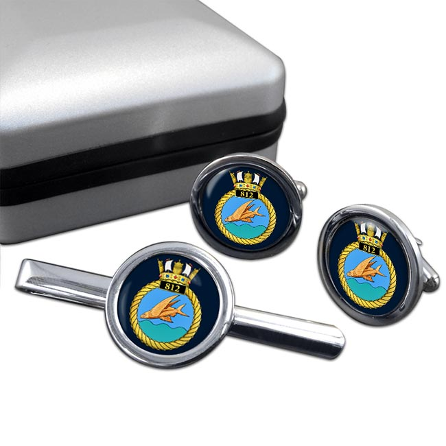 812 Naval Air Squadron (Royal Navy) Round Cufflink and Tie Clip Set
