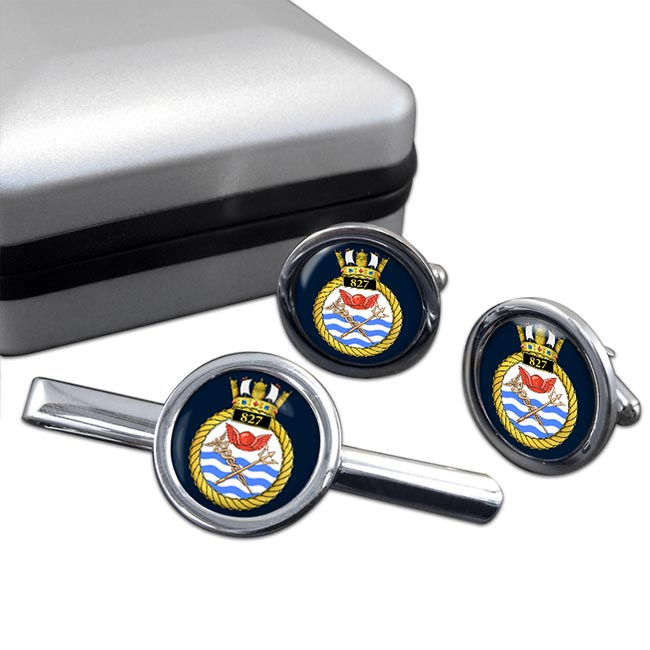 827 Naval Air Squadron (Royal Navy) Round Cufflink and Tie Clip Set