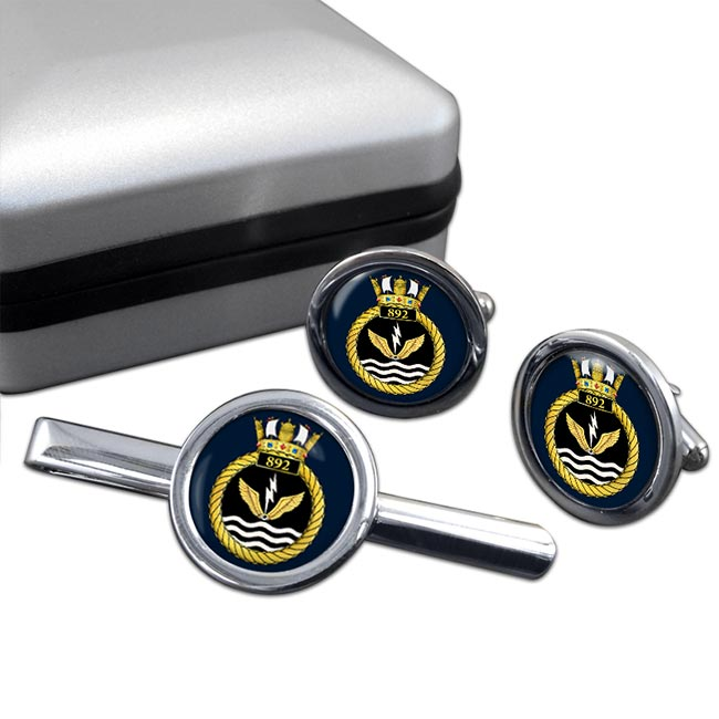 892 Naval Air Squadron (Royal Navy) Round Cufflink and Tie Clip Set