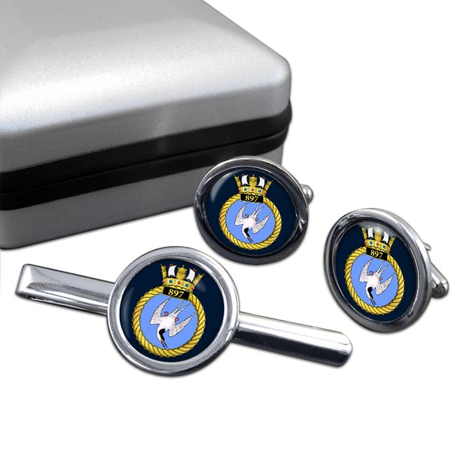 897 Naval Air Squadron (Royal Navy) Round Cufflink and Tie Clip Set