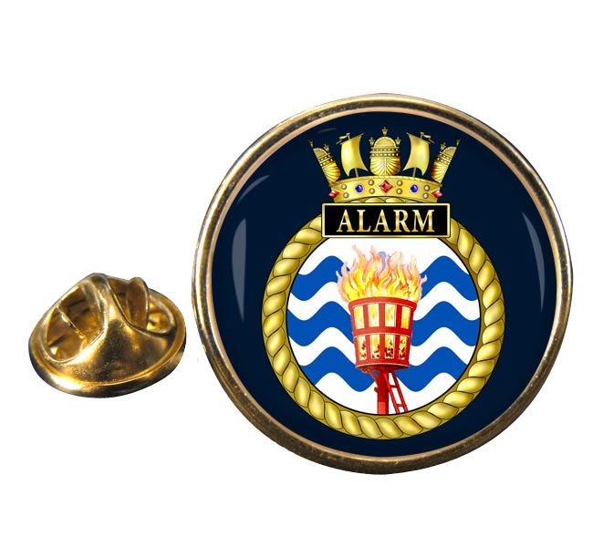 HMS Alarm (Royal Navy) Round Pin Badge