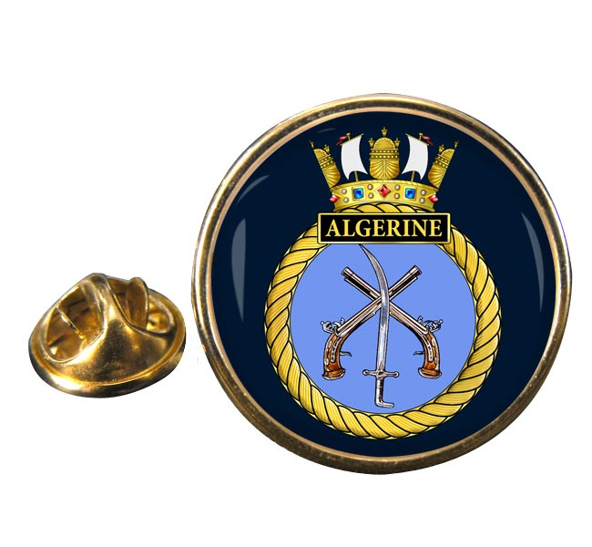 HMS Algerine (Royal Navy) Round Pin Badge