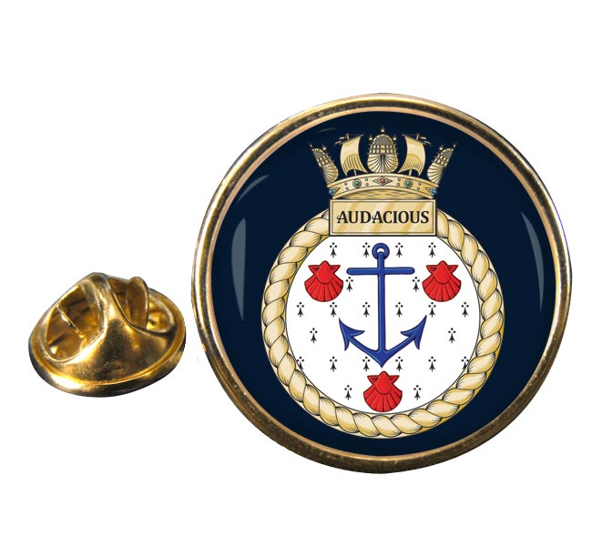 HMS Audacious (Royal Navy) Round Pin Badge