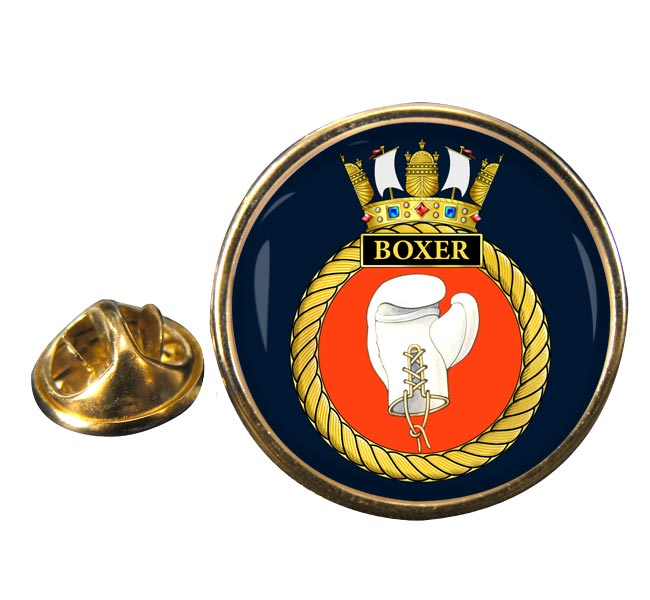 HMS Boxer (Royal Navy) Round Pin Badge