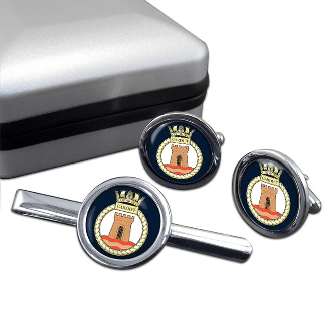 HMS Cardiff (Royal Navy) Round Cufflink and Tie Clip Set