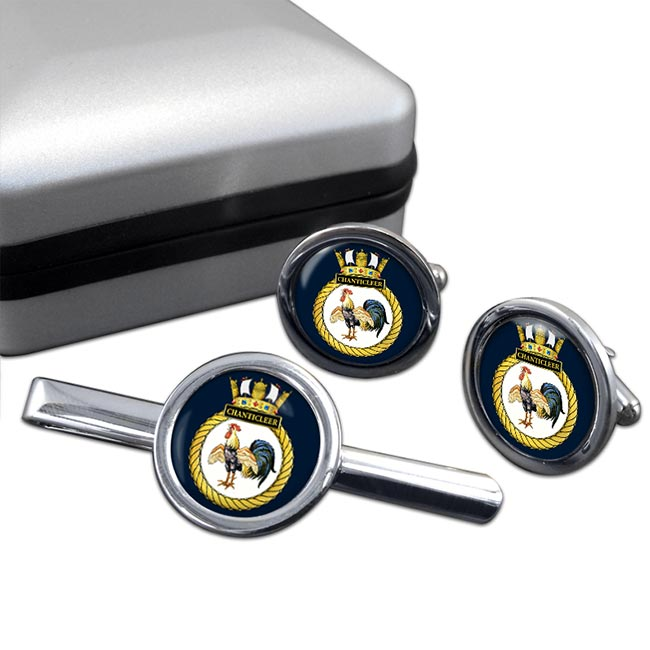 HMS Chanticleer (Royal Navy) Round Cufflink and Tie Clip Set