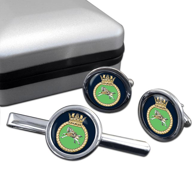 HMS Charger (Royal Navy) Round Cufflink and Tie Clip Set