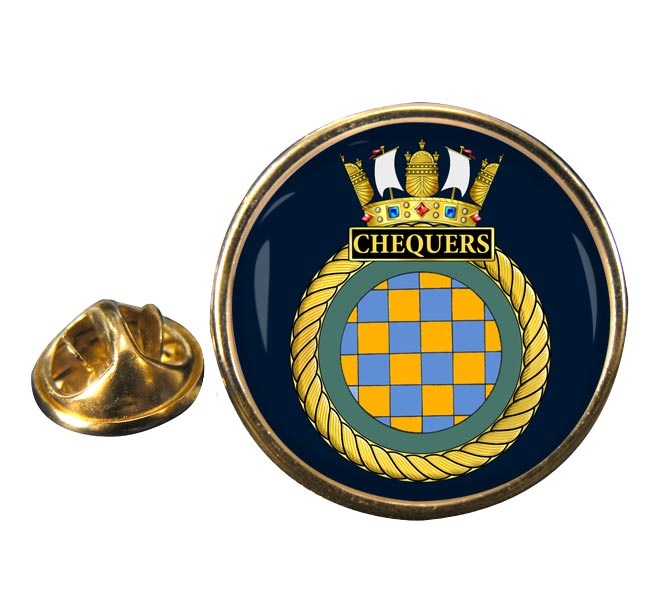 HMS Chequers (Royal Navy) Round Pin Badge
