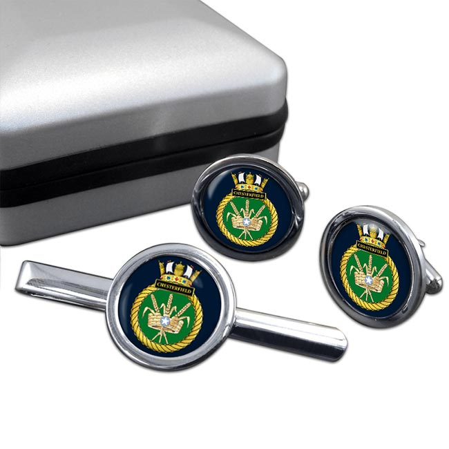 HMS Chesterfield (Royal Navy) Round Cufflink and Tie Clip Set