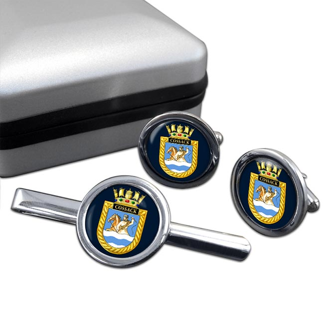HMS Cossack (Royal Navy) Round Cufflink and Tie Clip Set