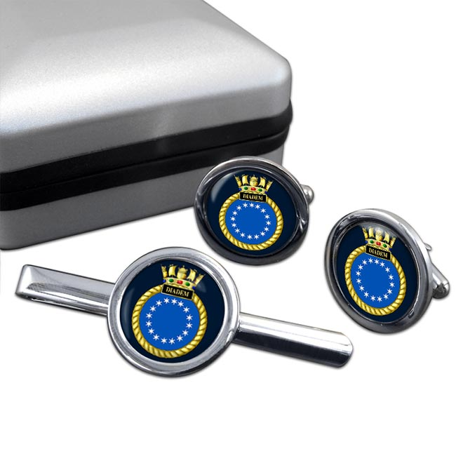 HMS Diadem (Royal Navy) Round Cufflink and Tie Clip Set