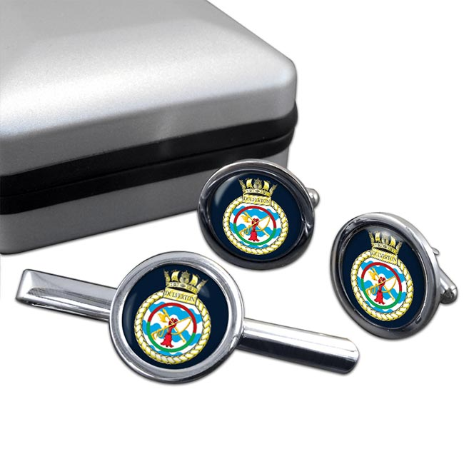 HMS Dulverton (Royal Navy) Round Cufflink and Tie Clip Set