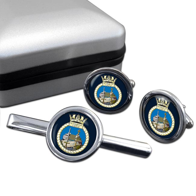 HMS Dumbarton Castle (Royal Navy) Round Cufflink and Tie Clip Set