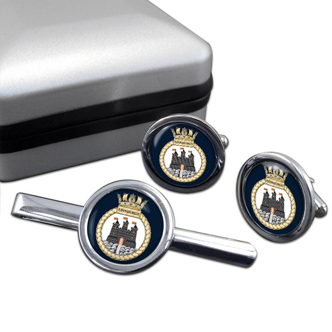 HMS Edinburgh (Royal Navy) Round Cufflink and Tie Clip Set