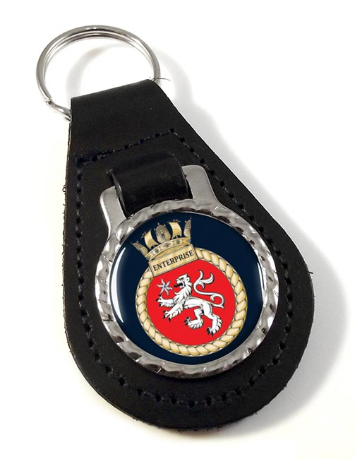 HMS Enterprise (Royal Navy) Leather Key Fob