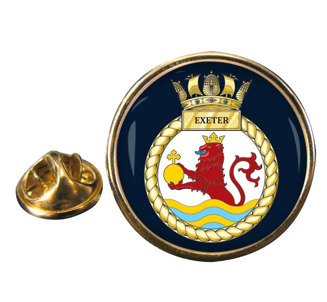 HMS Exeter (Royal Navy) Round Pin Badge