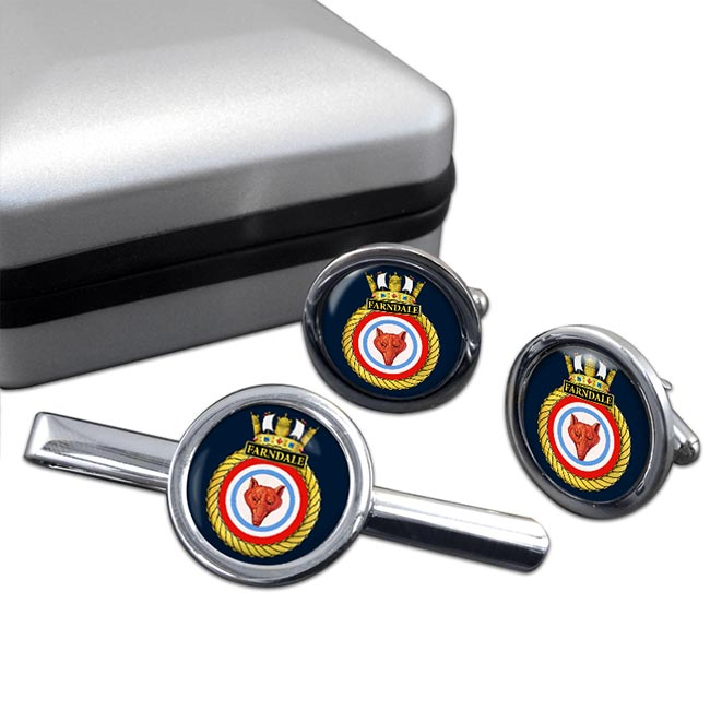 HMS Farndale (Royal Navy) Round Cufflink and Tie Clip Set