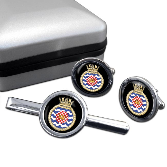 HMS Hampshire (Royal Navy) Round Cufflink and Tie Clip Set
