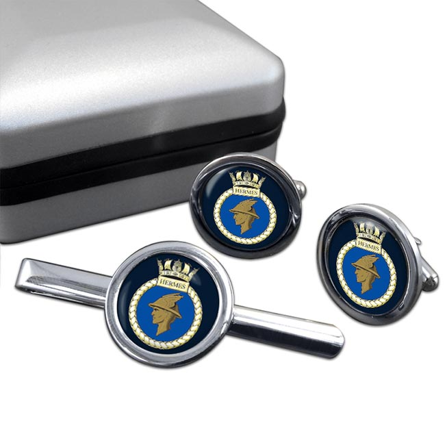 HMS Hermes (Royal Navy) Round Cufflink and Tie Clip Set