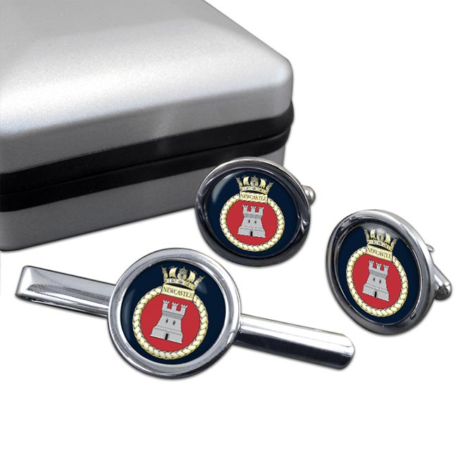 HMS Newcastle (Royal Navy) Round Cufflink and Tie Clip Set