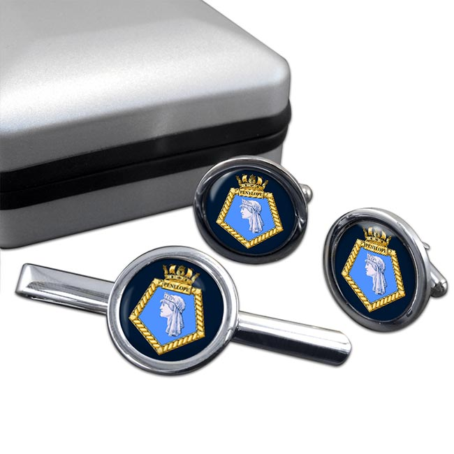 HMS Penelope (Royal Navy) Round Cufflink and Tie Clip Set