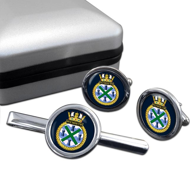 HMS Plymouth (Royal Navy) Round Cufflink and Tie Clip Set