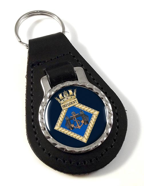 HMS President (Royal Navy) Leather Key Fob