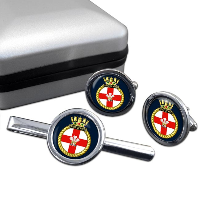 HMS Prince of Wales (Royal Navy) Round Cufflink and Tie Clip Set