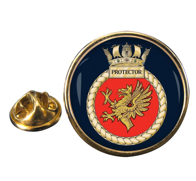 HMS Protector (Royal Navy) Round Pin Badge