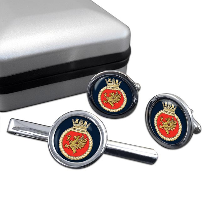 HMS Protector (Royal Navy) Round Cufflink and Tie Clip Set