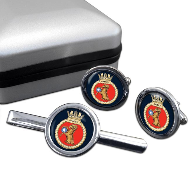 HMS Ramsey (Royal Navy) Round Cufflink and Tie Clip Set
