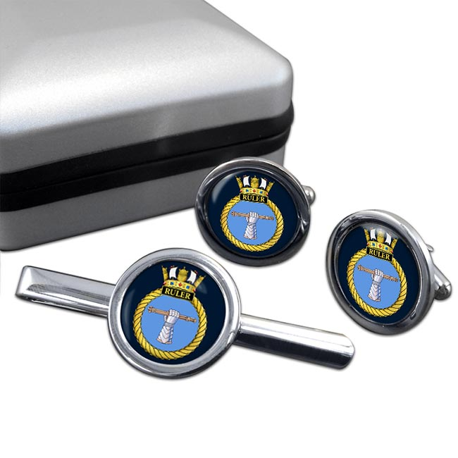 HMS Ruler (Royal Navy) Round Cufflink and Tie Clip Set