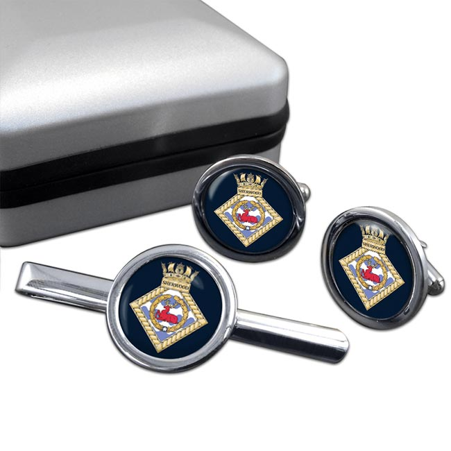 HMS Sherwood (Royal Navy) Round Cufflink and Tie Clip Set
