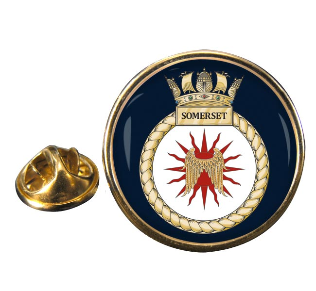 HMS Somerset (Royal Navy) Round Pin Badge