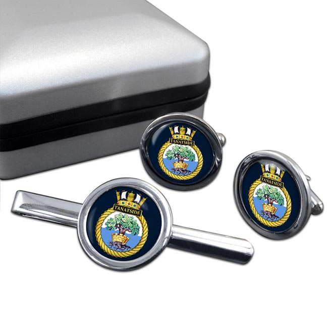 HMS Tantaside (Royal Navy) Round Cufflink and Tie Clip Set