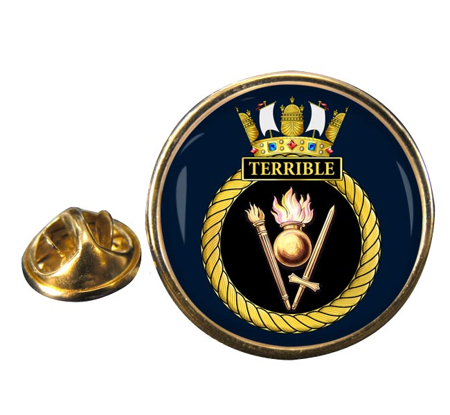 HMS Terrible (Royal Navy) Round Pin Badge