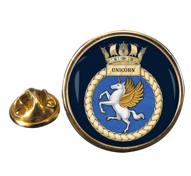 HMS Unicorn (Royal Navy) Round Pin Badge