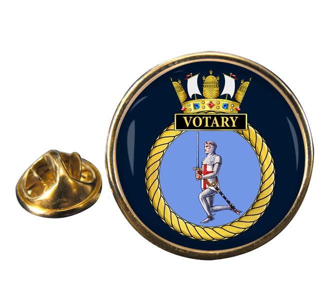 HMS Votary (Royal Navy) Round Pin Badge