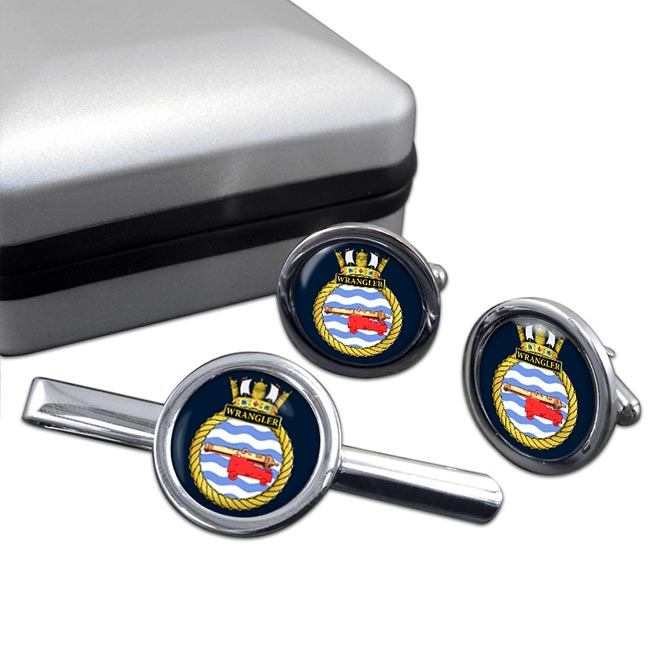HMS Wrangler (Royal Navy) Round Cufflink and Tie Clip Set