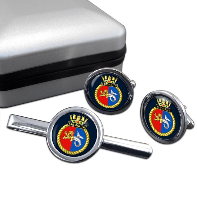 HMS Yarmouth (Royal Navy) Round Cufflink and Tie Clip Set