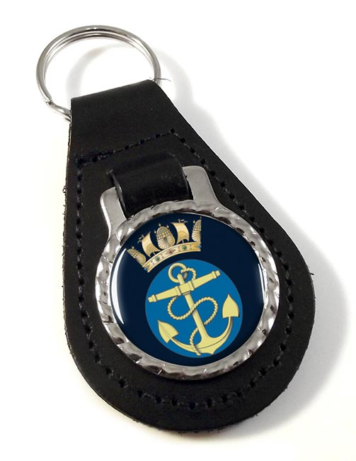 Royal Navy Fouled Anchor and Crown Leather Key Fob