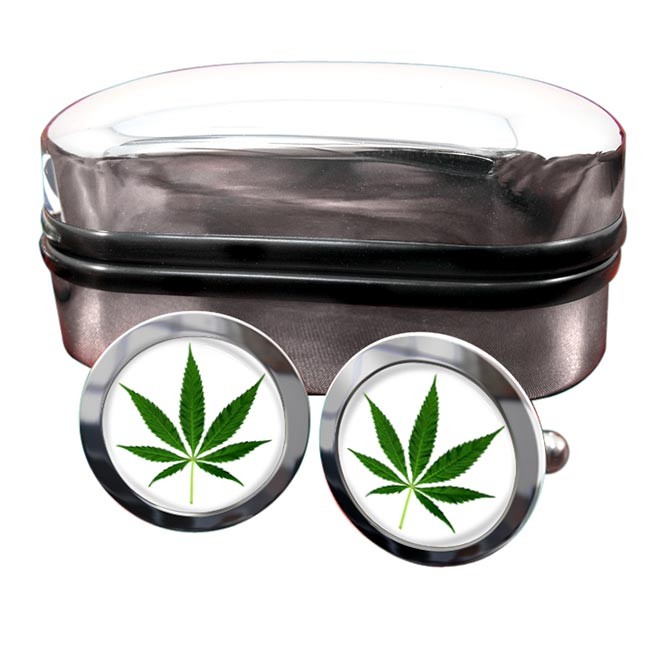 Marijuana Cannabis Leaf Round Cufflinks