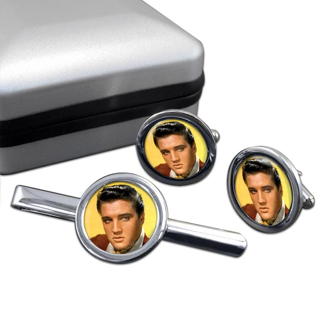 Elvis Round Cufflink and Tie Clip Sert