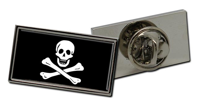 Skull and Crossbones Jolly Roger Rectangle Pin Badge