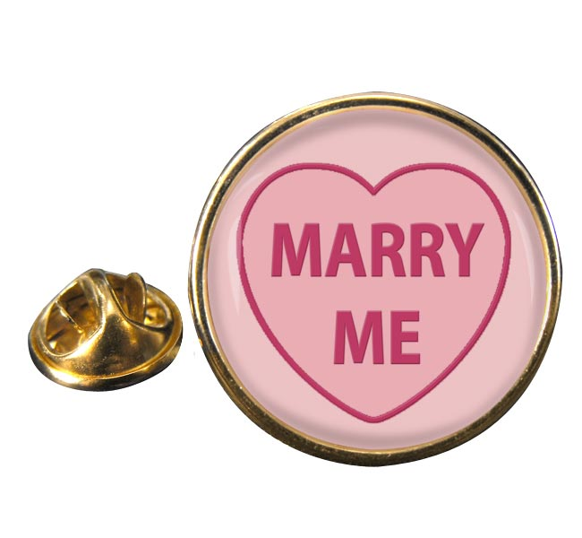 Love Heart Marry Me Round Pin Badge