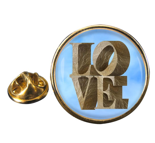 Love Set in Stone Round Pin Badge