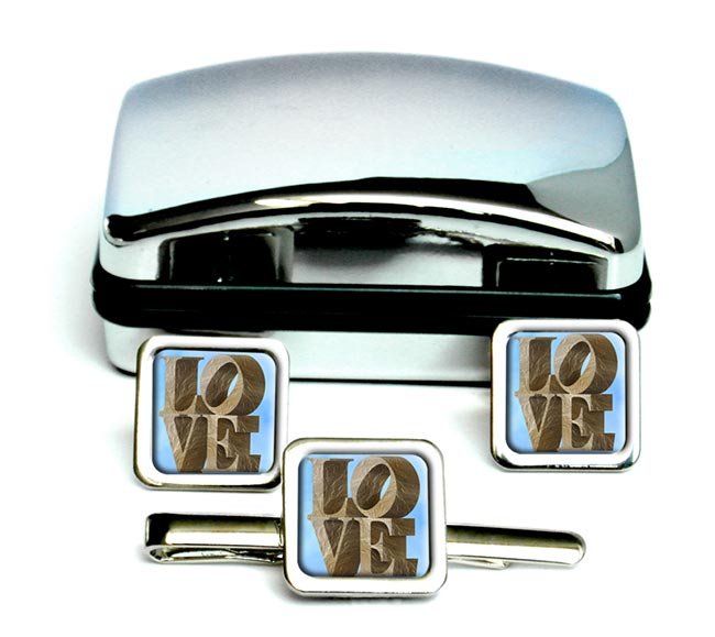 Love Set in Stone Square Cufflink and Tie Clip Set