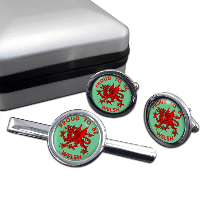 Welsh and Proud Round Cufflink and Tie Clip Sert
